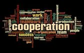 Cooperation concept in word tag cloud on black — Stock Photo