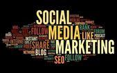 Sociali media marketing nel tag cloud — Foto Stock