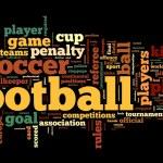 concepto de fútbol en el tag cloud de palabra — Foto de Stock