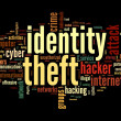Identity theft in word tag cloud - Stock Photo