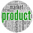 Product concept words in tag cloud — Stock fotografie