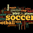Soccer concept in word tag cloud — Foto Stock