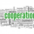 Cooperation concept in word tag cloud on white — Stock Photo #11672343