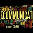 Telecommunication concept in word tag cloud — 图库照片