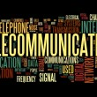 Telecommunication concept in word tag cloud — Stockfoto