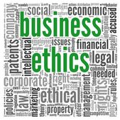 Business ethics concept in tag cloud — 图库照片