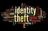 Identity theft in word tag cloud — Stock Photo