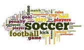 Soccer concept in word tag cloud — Stock Photo