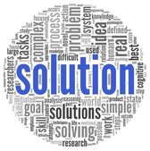 Solution in word tag cloud on white — Stock Photo