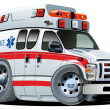 Vector Cartoon Ambulance Car - Stock Vector