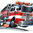 Vector cartoon firetruck - Stock Vector