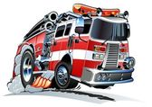 Vector cartoon firetruck — Stock Vector