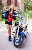 Woman biker — Stock Photo