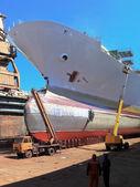 在造船厂的码头上 — 图库照片