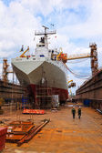 Ship in a dry dock — Stock Photo