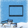 Film frame on an ice background — Stok fotoğraf