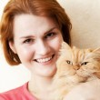 Young woman with Persian cat portrait — Stock Photo