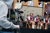 Video camera operator working — Stock Photo