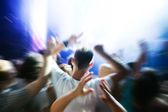 On music concert, disco party. — Stock Photo