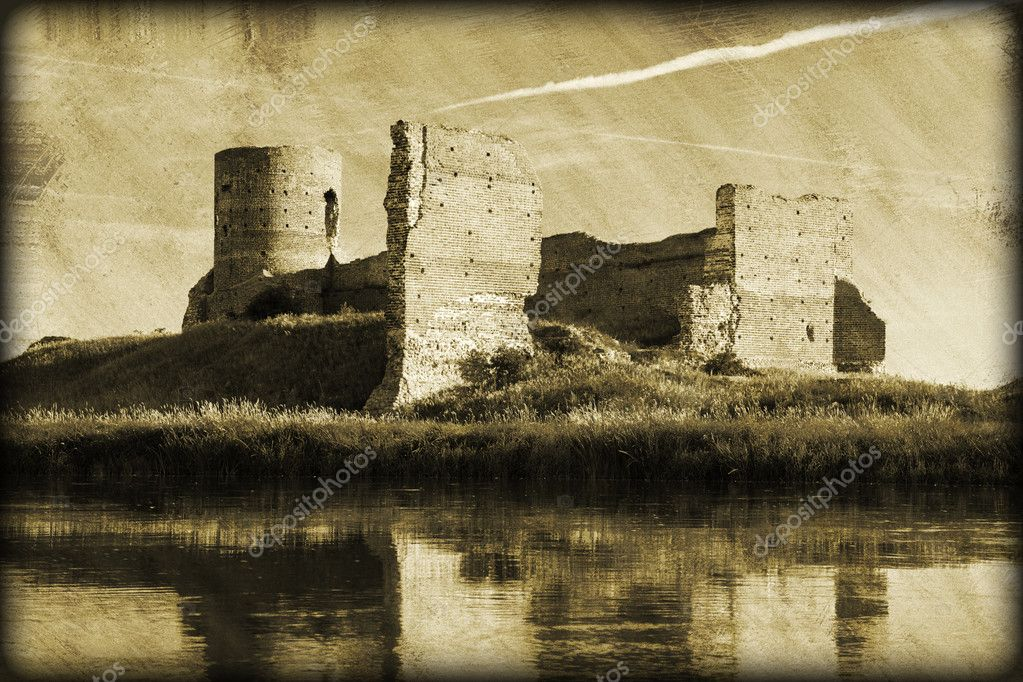 Grunge, vintage photo of old castle ruins at the river.  Stock Photo #12185779