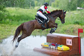 Woman eventer on horse is overcomes the fence in water — Stock Photo