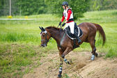 Eventer on horse negotiating Water jump — Foto Stock