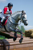 Woman eventer on horse is overcomes the Rolltop — Stock Photo