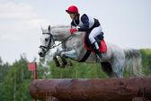 馬の女性 eventer はログ フェンスを克服 — ストック写真