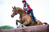 Equestrian sport. Woman eventer on horse negotiating cross-country Fixed obstacle Log fence — Stock Photo