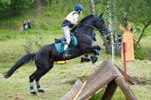Equestrian sport. Eventer on horse negotiating cross-country Fixed obstacle — Stock Photo