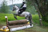 Eventer on horse is overcomes the Log fence — Stock Photo