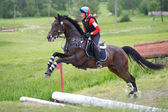 Woman eventer on horse is overcomes the open ditch — Stock Photo