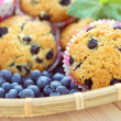 Mascarpone and blueberry muffins - Stock Photo