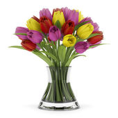 Bouquet of tulips in vase isolated on white background — Stock Photo