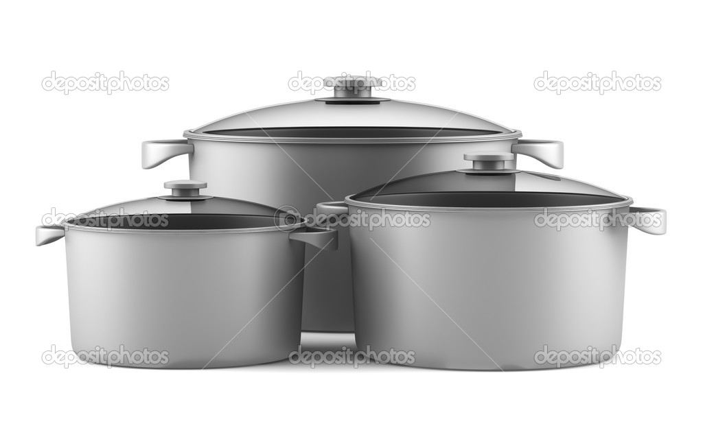 Three gray cooking pans isolated on white background — Lizenzfreies Foto #11189362