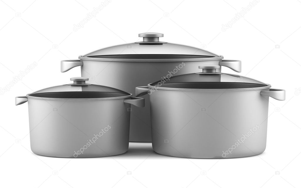 Three gray cooking pans isolated on white background  Foto de Stock   #11189362