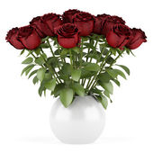 Bouquet of red roses in vase isolated on white background — Stock Photo