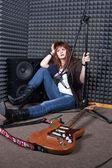 Girl in recording studio — Stock Photo