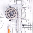 Calliper with part on Engineering drawing — Stock Photo