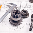Постер, плакат: Calliper with part on Engineering drawing
