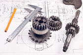 Calliper with part on Engineering drawing — Foto de Stock
