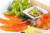 Red fish and caviar — Stock Photo