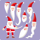 Eight Santa heads and one body — Stock Vector