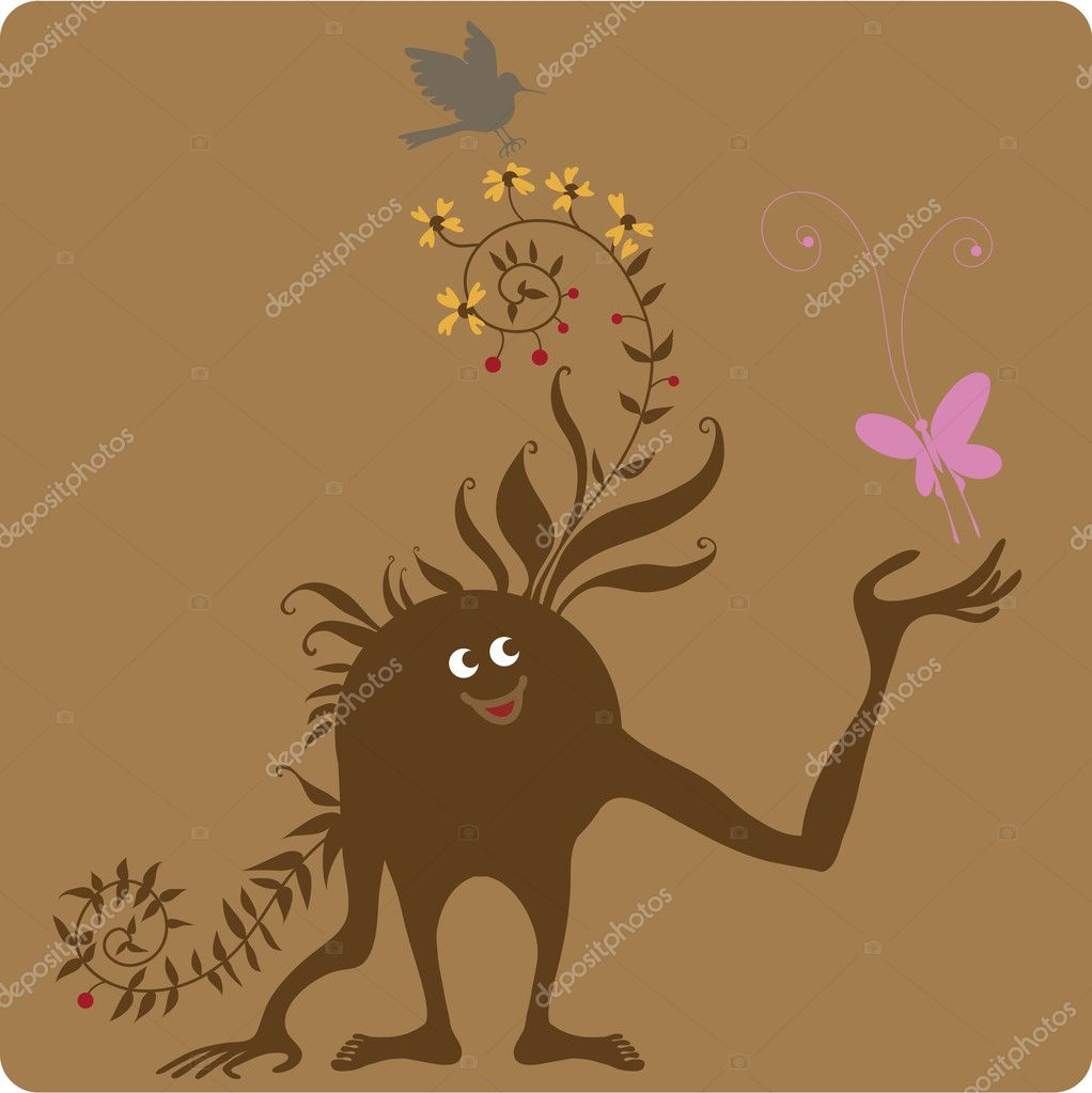 Rude creature enchanted by the beauty of nature.  Stock Vector #11042518