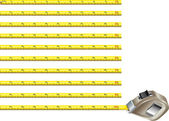 Steel measure tape - inches version — Stockvector