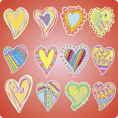 Twelve colored hearts — Stock Vector