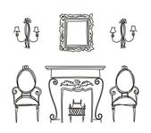 Set of vintage furniture silhouettes — Vector de stock