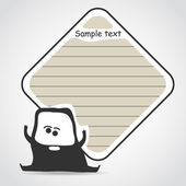 Cartoon black monster with message cloud — Stock Vector