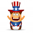 The amusing little man in a hat for July 4th. — Stock Vector