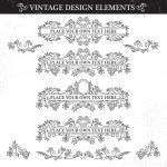 Vintage ornament set on white background. — Stock Vector